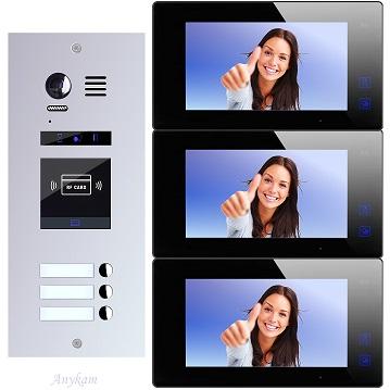 ES3ID+ DT47M-B Video Türsprechanlage Videosprechanlage 3-Familienhaus 2Draht