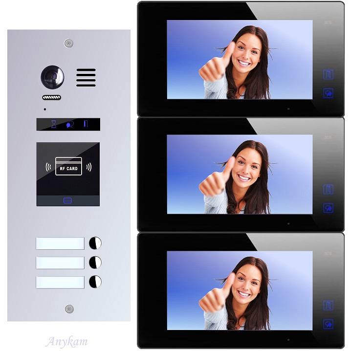 Video Türsprechanlagen mit Kamera 2-draht 3familienhaus Edelstahl Türstation ES3ID ES3kp Unterputzmontage