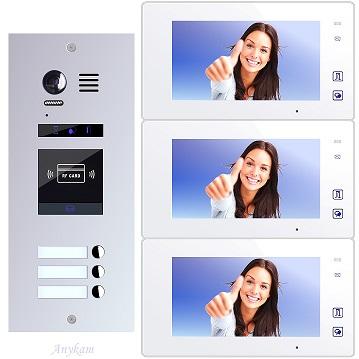 ES3ID+ DT47M-W Video Türsprechanlage Videosprechanlage 3-Familienhaus 2Draht