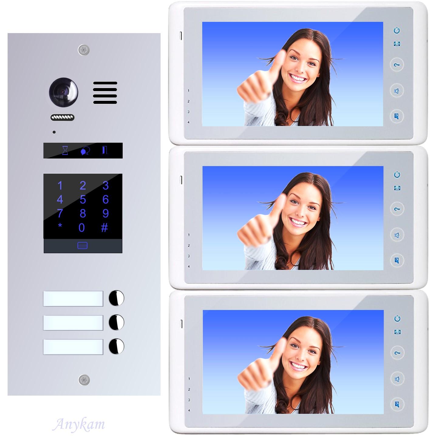 Design Farb Video Türsprechanlage für Mehrfamilienhaus Videosprechanlage Gegensprechanlage Klingelanlage mit Kamera und Touch Zahlenfeld für Code Zutrittskontrolle Interfon mit 2-Draht Technik