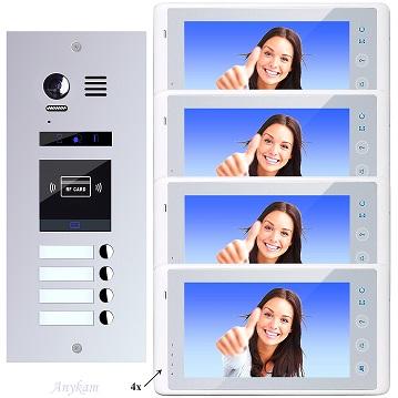 ES4id+ DT27W Video Türsprechanlage Videosprechanlage 4-Familienhaus 2Draht