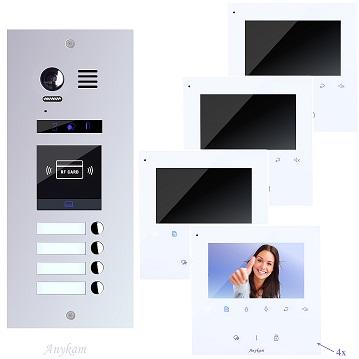 ES4id+ DT43W Video Türsprechanlage Videosprechanlage RFID 4-Familienhaus 2Draht