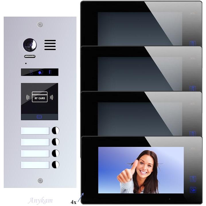 Video Türsprechanlagen mit Kamera 2-draht 4familienhaus Edelstahl Türstation ES4ID ES4kp Unterputz