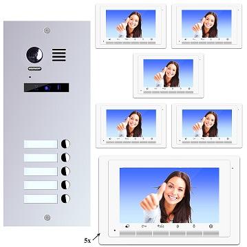 ES5+ DT17W Video Türsprechanlage Videosprechanlage 5-Familienhaus 2Draht