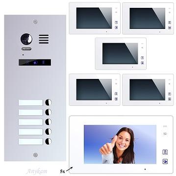 ES5 + DT47M-W Video Türsprechanlage Videosprechanlage 5-Familienhaus 2Draht