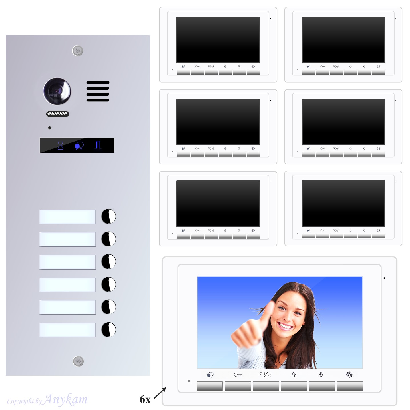Design Farb Video Türsprechanlage für Mehrfamilienhaus Videosprechanlage Gegensprechanlage Klingelanlage Interfon mit 2-Draht Technik
