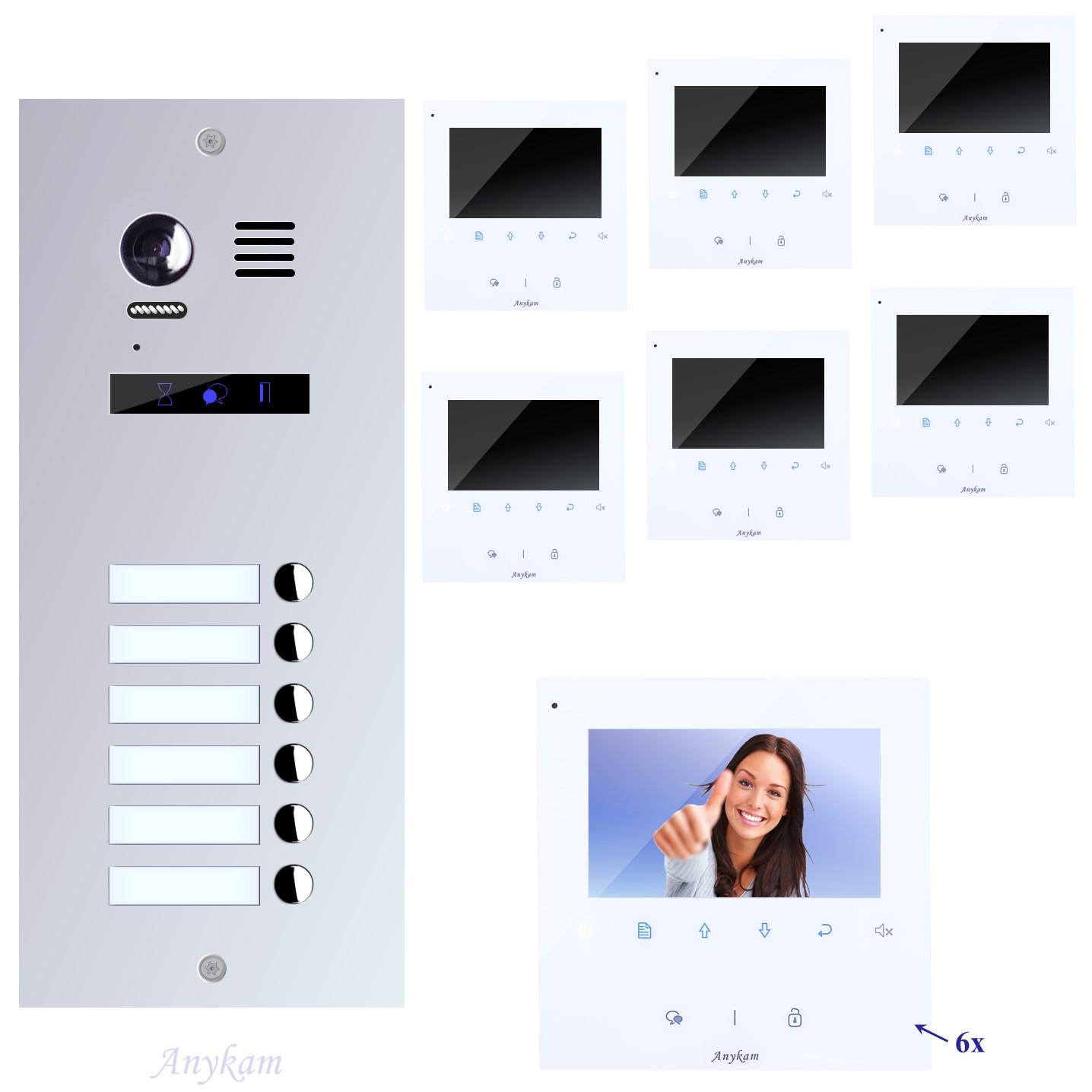 Video Klingelanlagen mit Kamera 2-draht 6-familienhaus mit Edelstahl Klingel ES6 Unterputzmontage
