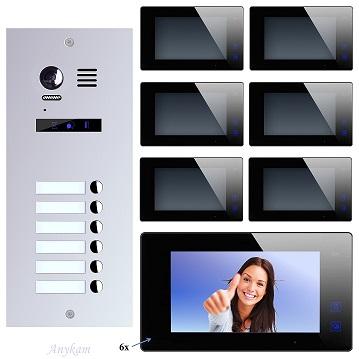 ES6+ 6xDT47M-B Video Türsprechanlage Videosprechanlage 6-Familienhaus 2Draht