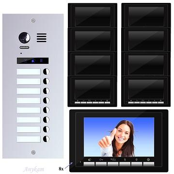ES8+ DT17B Video Tür Sprechanlage Videosprechanlage 8-Familienhaus 2 Draht