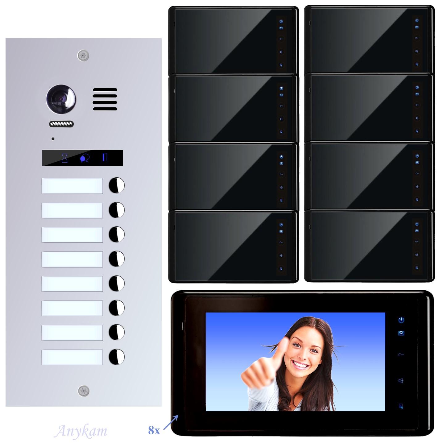 es8 dt27b video t r sprechanlage videosprechanlage 8 familienhaus 2 draht. Black Bedroom Furniture Sets. Home Design Ideas