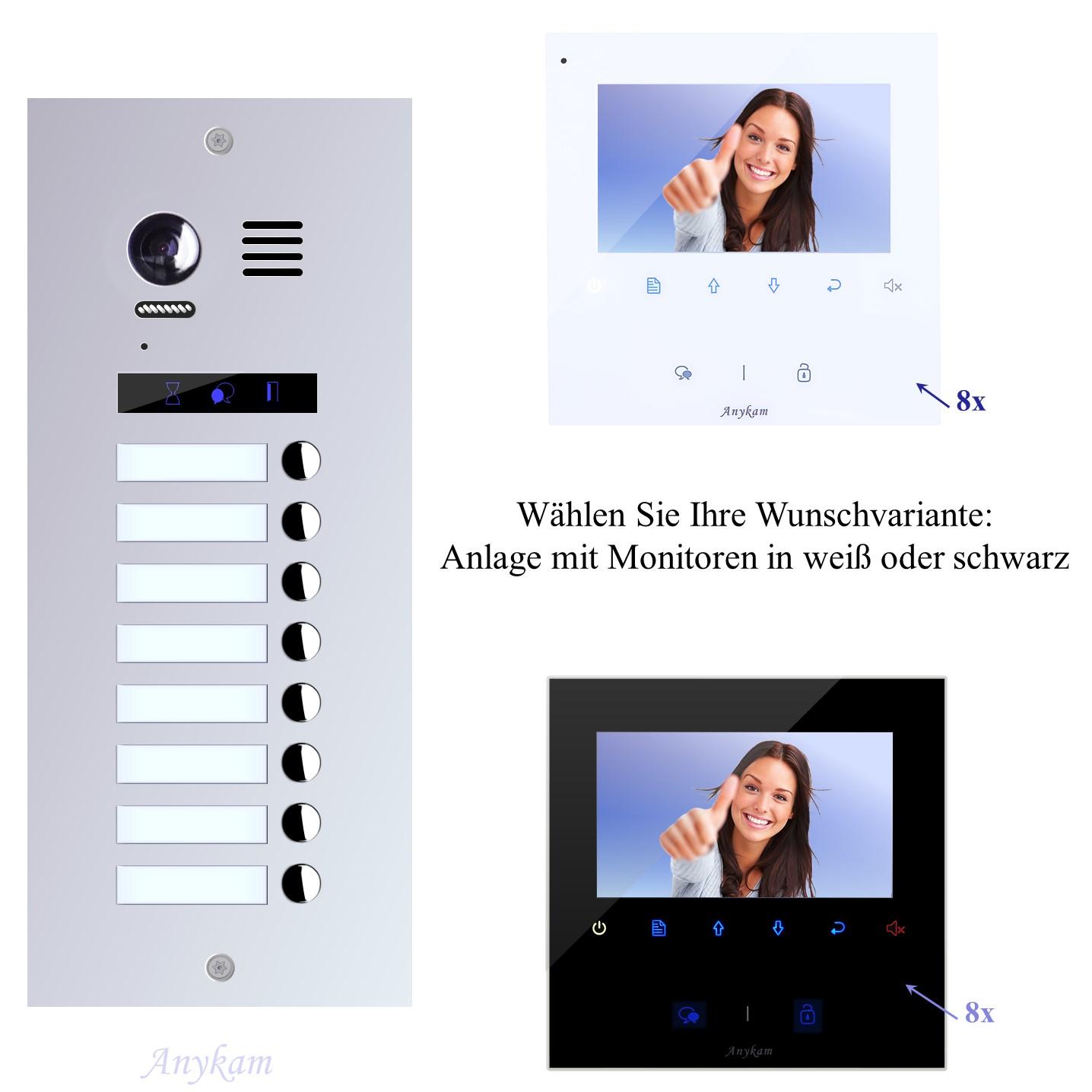 Videosprechanlagen mit Kamera 2-draht 8-familienhaus mit Edelstahl Klingel ES8 Unterputzmontage
