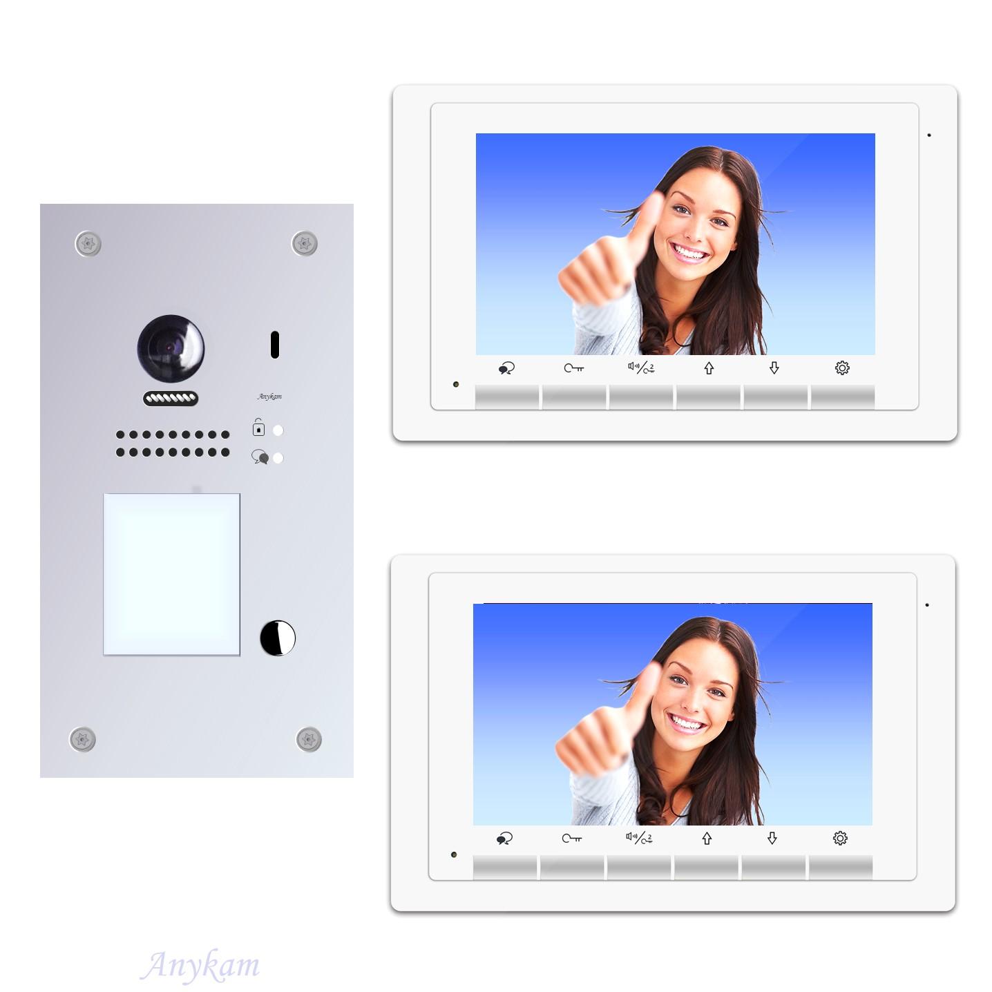 Anykam Design Farb Video Türsprechanlage, Videosprechanlage, Video Gegensprechanlage, Klingelanalge mit Kamera, Interfon mit 2-Draht Technik