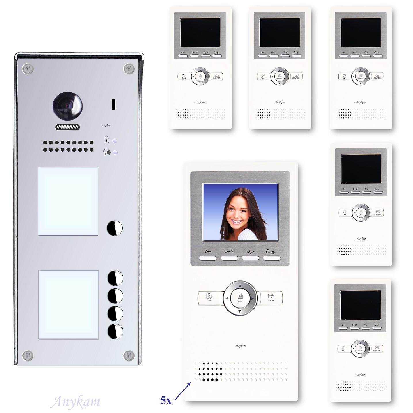 Video Klingelanlagen mit Kamera 2-draht 5-familienhaus mit Edelstahl Klingel 608idfe-S5 Aufputzmontage