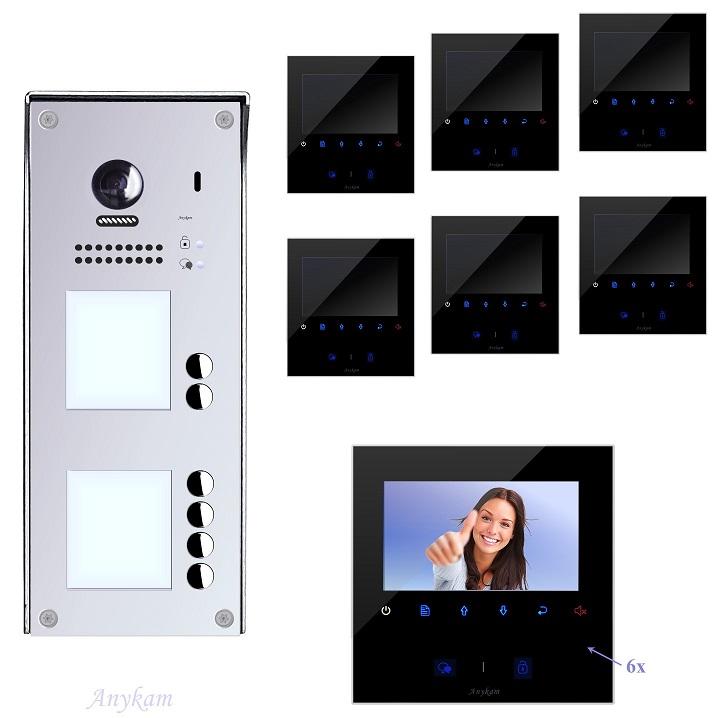 Video Klingelanlagen mit Kamera 2-draht 6-familienhaus mit Edelstahl Klingel 608idfe-S6 Aufputzmontage