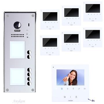 DT608-S6+ DT43W Video Tür Sprechanlage Videosprechanlage 6-Familienhaus 2 Draht