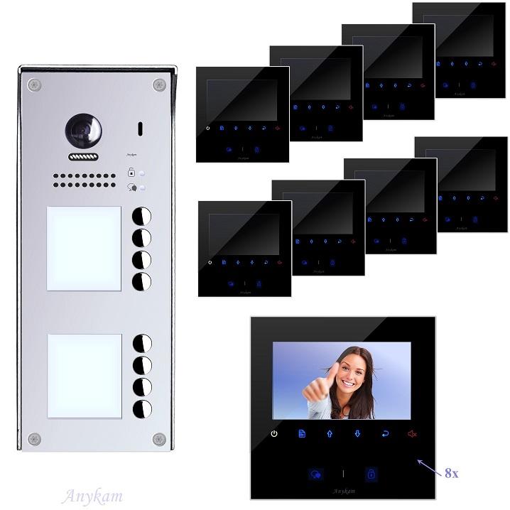 Video Klingelanlagen mit Kamera 2-draht 8-familienhaus mit Edelstahl Klingel 608idfe-S8 Aufputzmontage