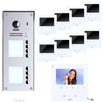DT608-S8+ DT43W Video Tür Sprechanlage Videosprechanlage 8-Familienhaus 2 Draht