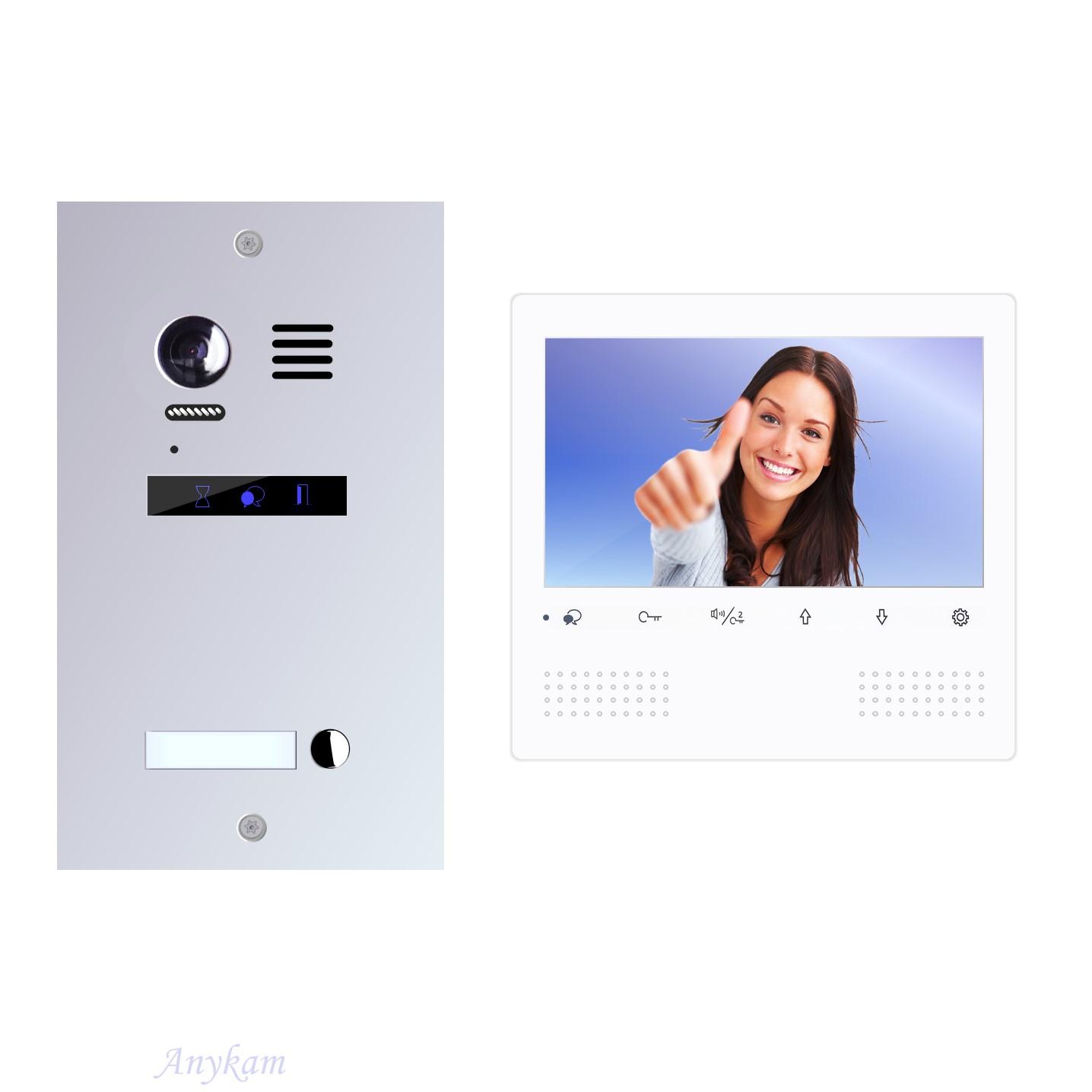 Design Farb Video Türsprechanlage für Einfamilienhaus Videosprechanlage Gegensprechanlage Klingelanlage Interfon mit 2-Draht width=