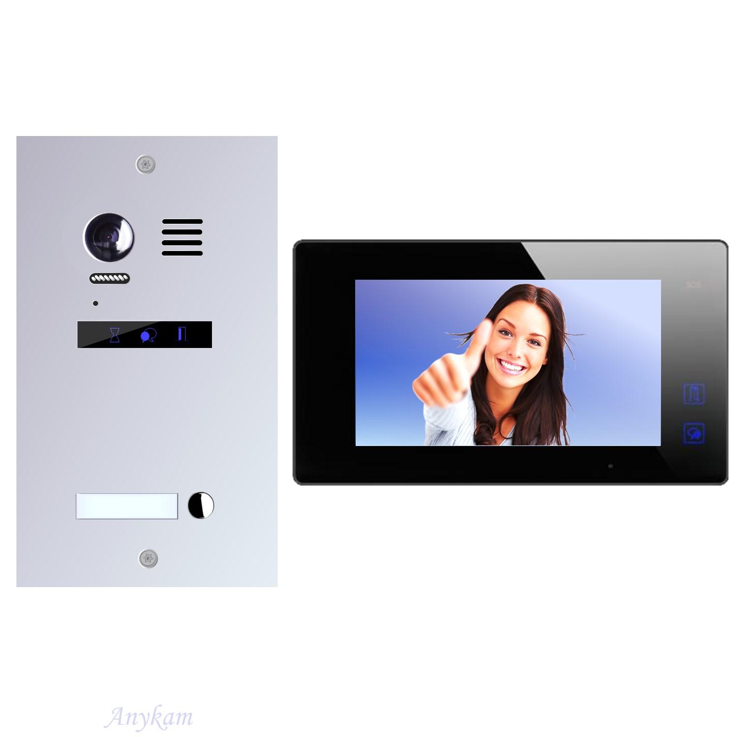 Design Farb Video Türsprechanlage für Einfamilienhaus Videosprechanlage Gegensprechanlage Klingelanlage Interfon mit 2-Draht Technik