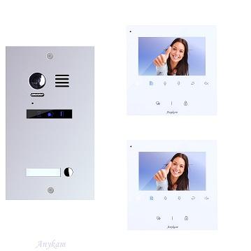 ES1m+ 2xDT43W Video Türsprechanlage Videosprechanlage 1-Familienhaus 2Draht