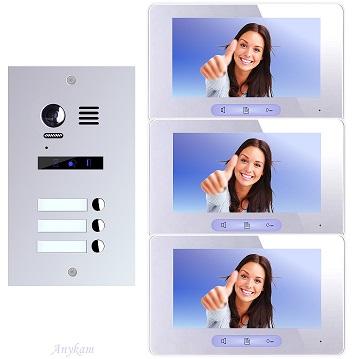 ES3m+ 3xDT37MG Video Türsprechanlage Videosprechanlage 3-Familienhaus 2Draht