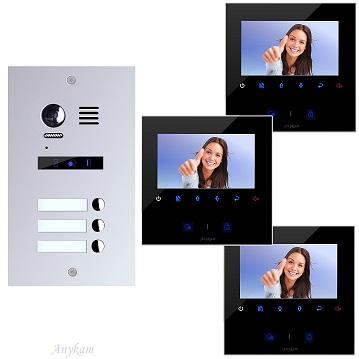 ES3m+ 3xDT43B Video Türsprechanlage Videosprechanlage 3-Familienhaus 2Draht