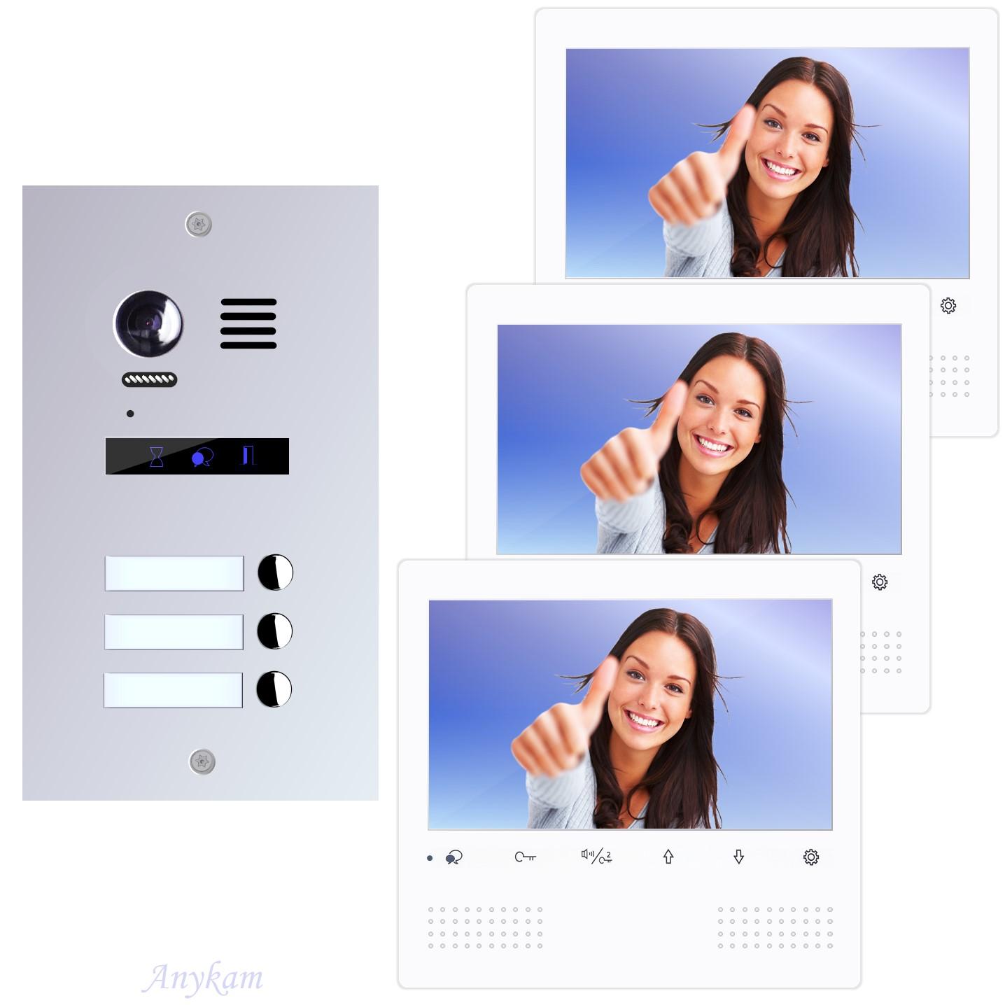 Design Farb Video Türsprechanlage für Dreifamilienhaus Videosprechanlage Gegensprechanlage Klingelanlage Interfon mit 2-Draht Technik