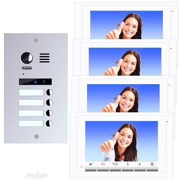 ES4m+ 4xDT17W Video Türsprechanlage Videosprechanlage 4-Familienhaus 2Draht