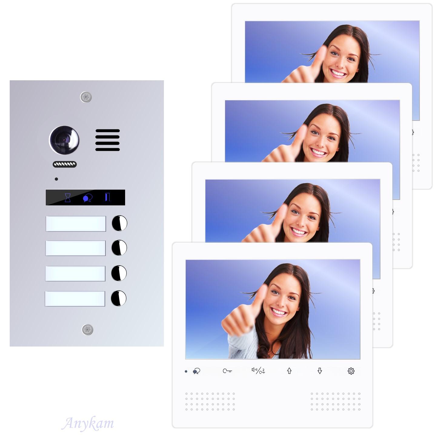 Design Farb Video Türsprechanlage für Vierfamilienhaus Videosprechanlage Gegensprechanlage Klingelanlage Interfon mit 2-Draht Technik
