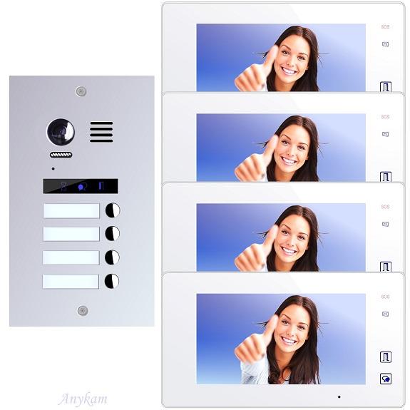Video Türsprechanlagen 2-draht mit Farbkamera 4-familienhaus Edelstahl Türstation ES4m Unterputzmontage