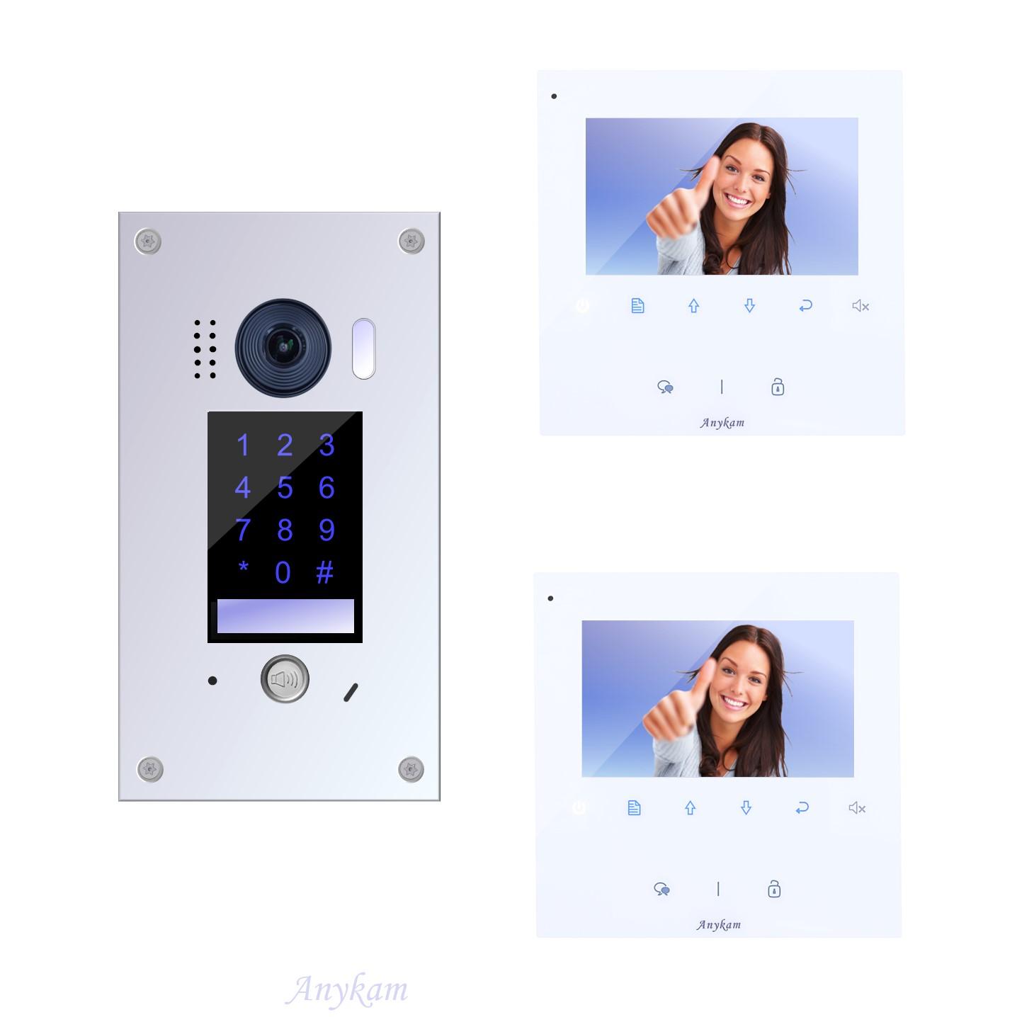 Anykam Design Farb Video Türsprechanlage, Videosprechanlage, Video Gegensprechanlage, Klingelanlage mit Kamera, Interfon mit 2-Draht Technik