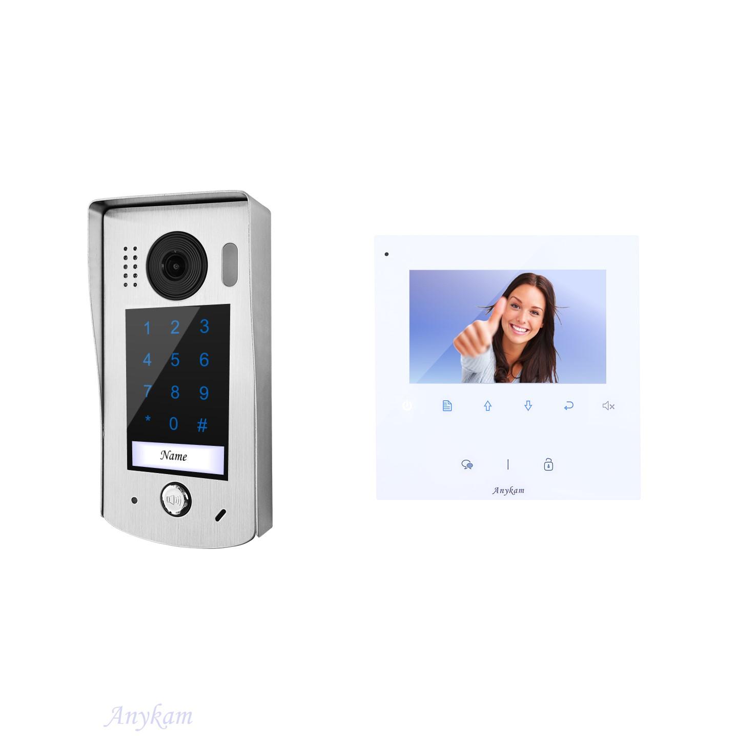 Design Farb Video Türsprechanlage mit Zutrittskontrolle über Codeeingabe für einfamilienhaus, Villa. Videosprechanlage Gegensprechanlage Klingelanlage Interfon mit 2-Draht Technik