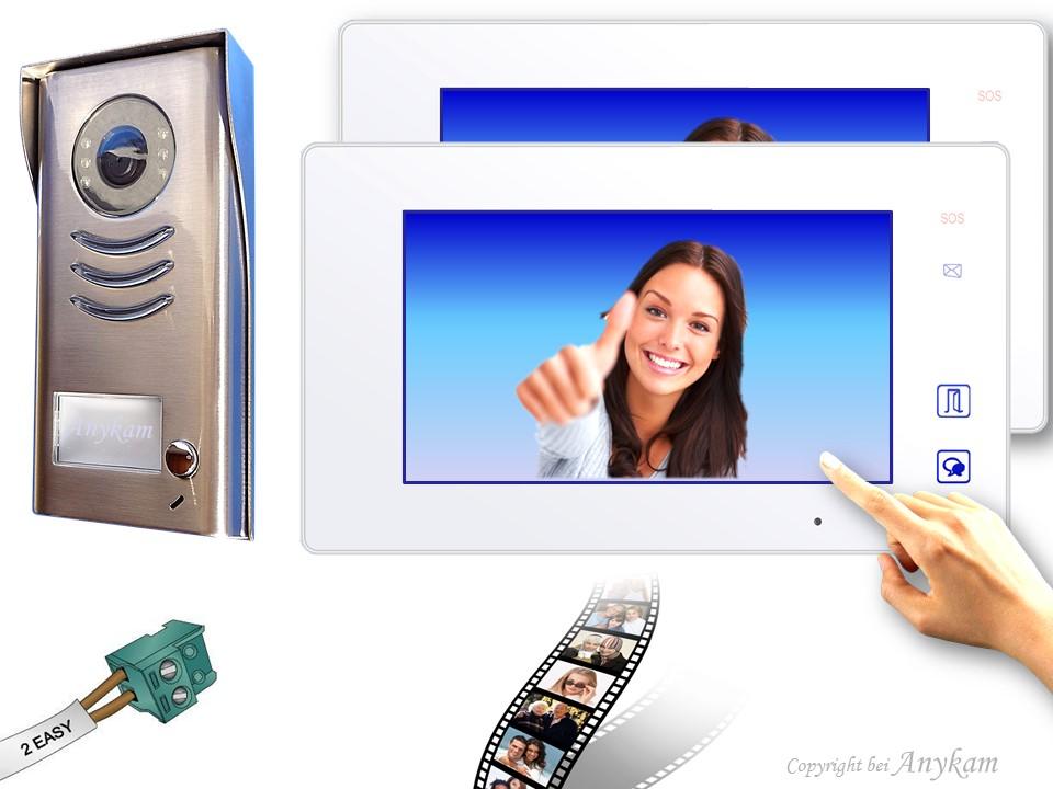 Anykam Design Farb Video Türsprechanlage mit Edelstahl Türklingel, Videosprechanlage, Video Gegensprechanlage, Klingelanlage mit Kamera, Interfon mit 2-Draht Technik
