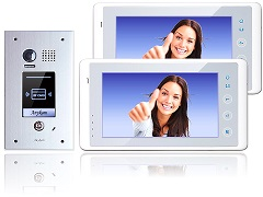 DT601FID-fe + 2x27W Video Türsprechanlage Zutrittschip 2Draht 2 Monitore