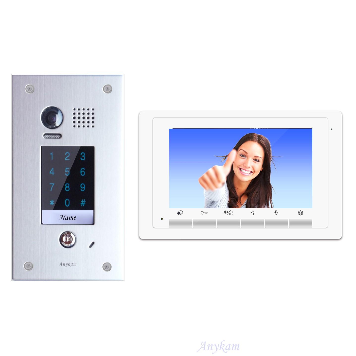 Design Farb Video Türsprechanlage mit Zutrittskontrolle über Code für einfamilienhaus, Villa. Videosprechanlage Gegensprechanlage Klingelanlage Interfon mit 2-Draht Technik
