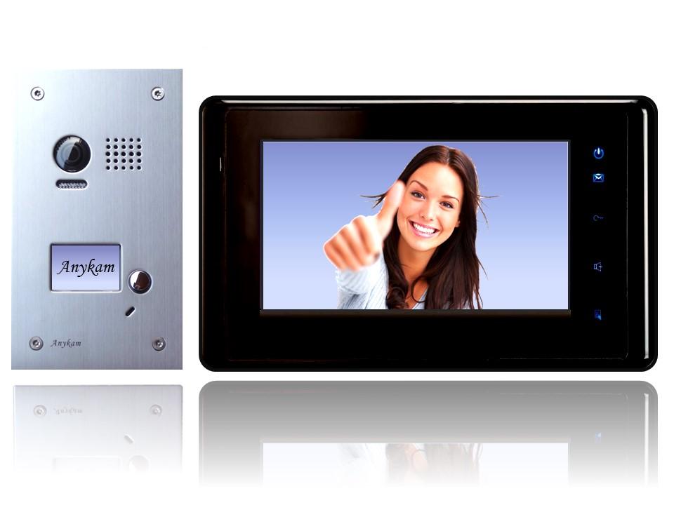 Anykam Design Farb Video Türsprechanlage mit Edelstahl Türklingel, Videosprechanlage, Video Gegensprechanlage, Klingelanalge mit Kamera, Interfon mit 2-Draht Technik