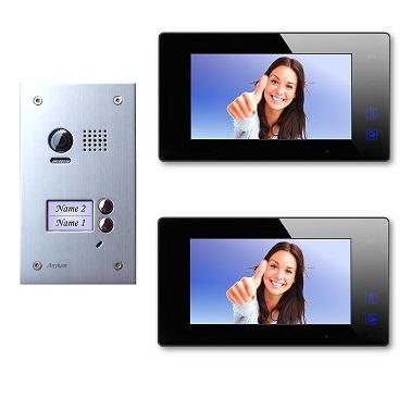 DT603D+ 2x DT47M-B Video Türsprechanlage Klingelanlage Kamera Zweifamilienhaus