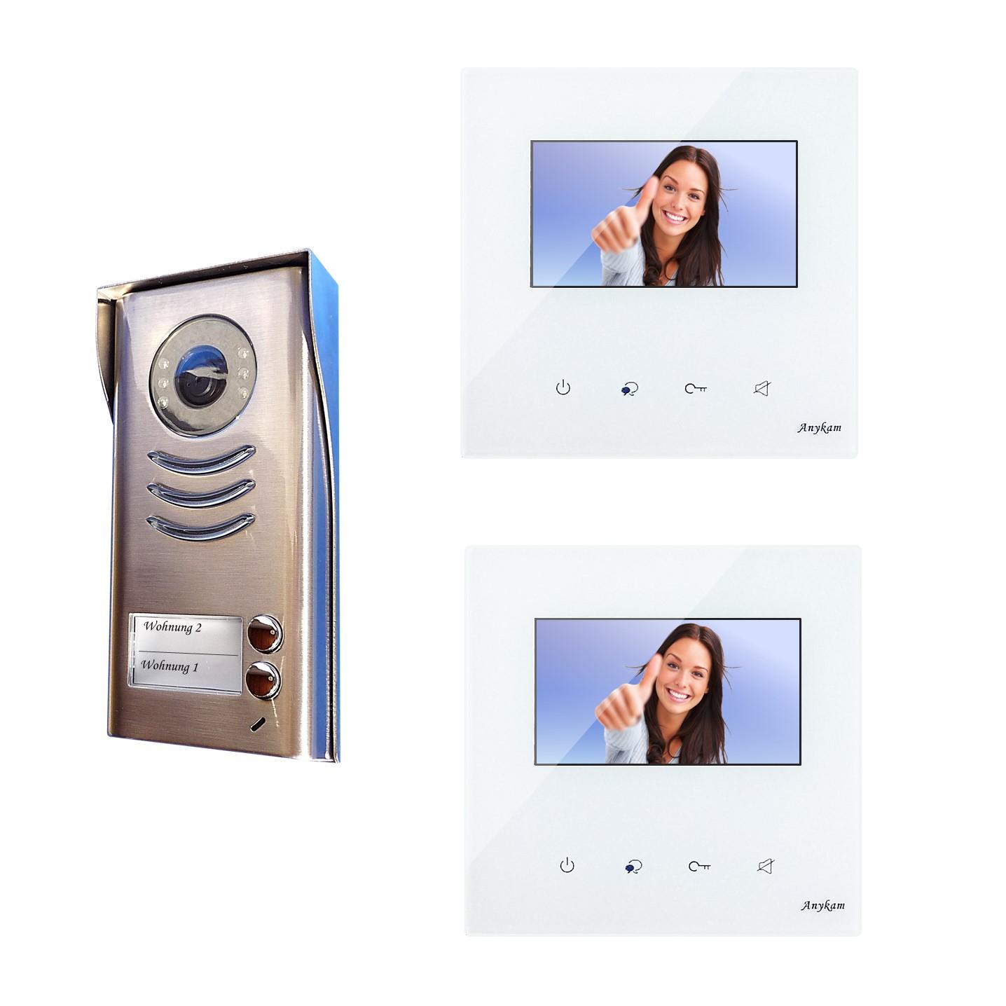 Design Farb Video Türsprechanlage für Zweifamilienhaus Videosprechanlage Gegensprechanlage Klingelanlage Interfon mit 2-Draht Technik