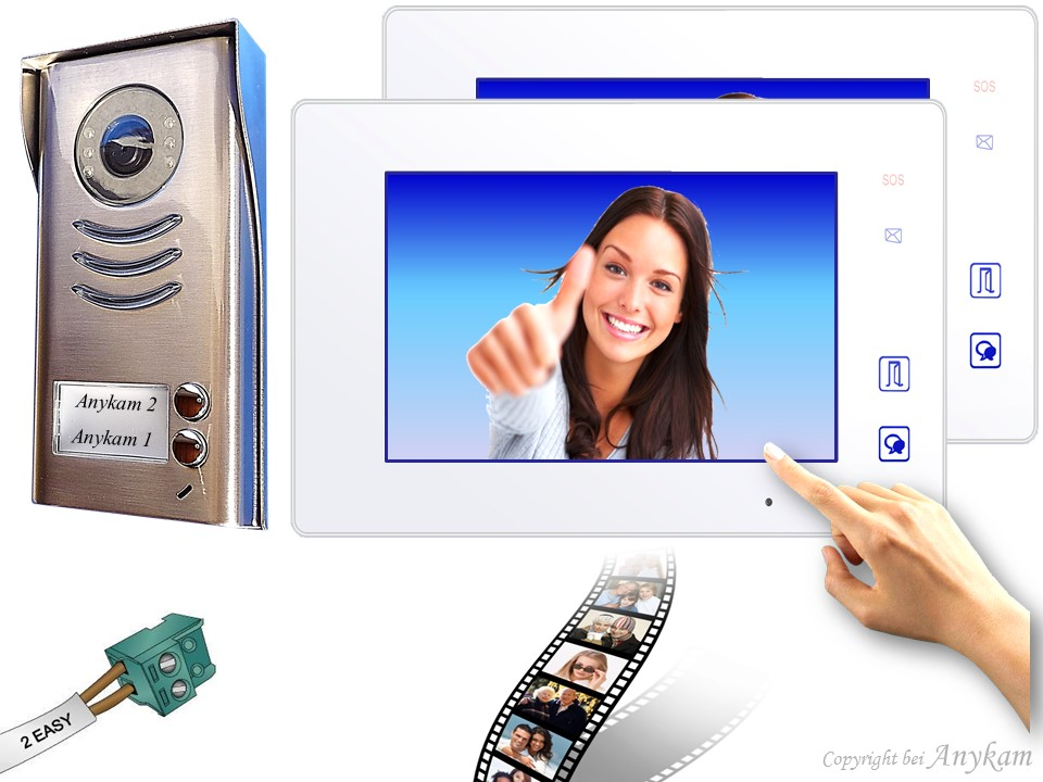Design Farb Video Türsprechanalge mit Bildspeicher für Zweifamilienhaus Videosprechanlage Gegensprechanlage Klingelanalge Interfon mit 2-Draht Technik
