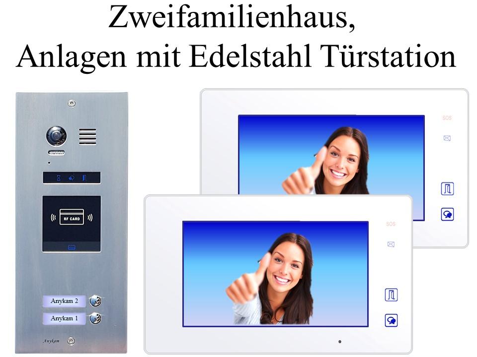 Video Gegensprechanlagen 2-draht mit Farbkamera 2-familienhaus Edelstahl Türstation ES2ID Unterputzmontage