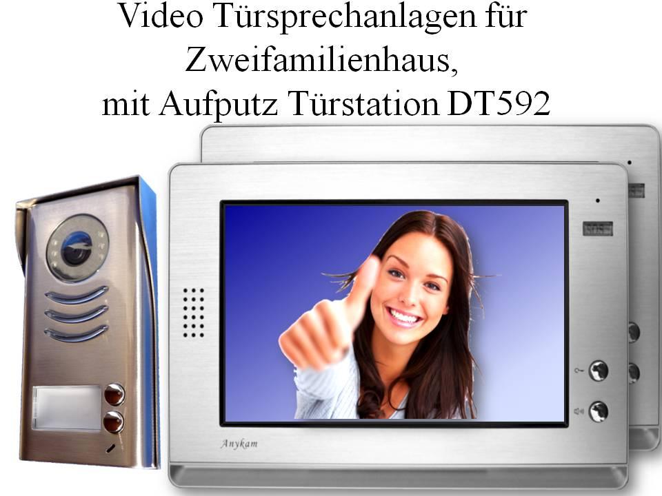 Video Gegensprechanlagen zweidraht Aufputzmontage 2-familienhaus Türklingel DT592
