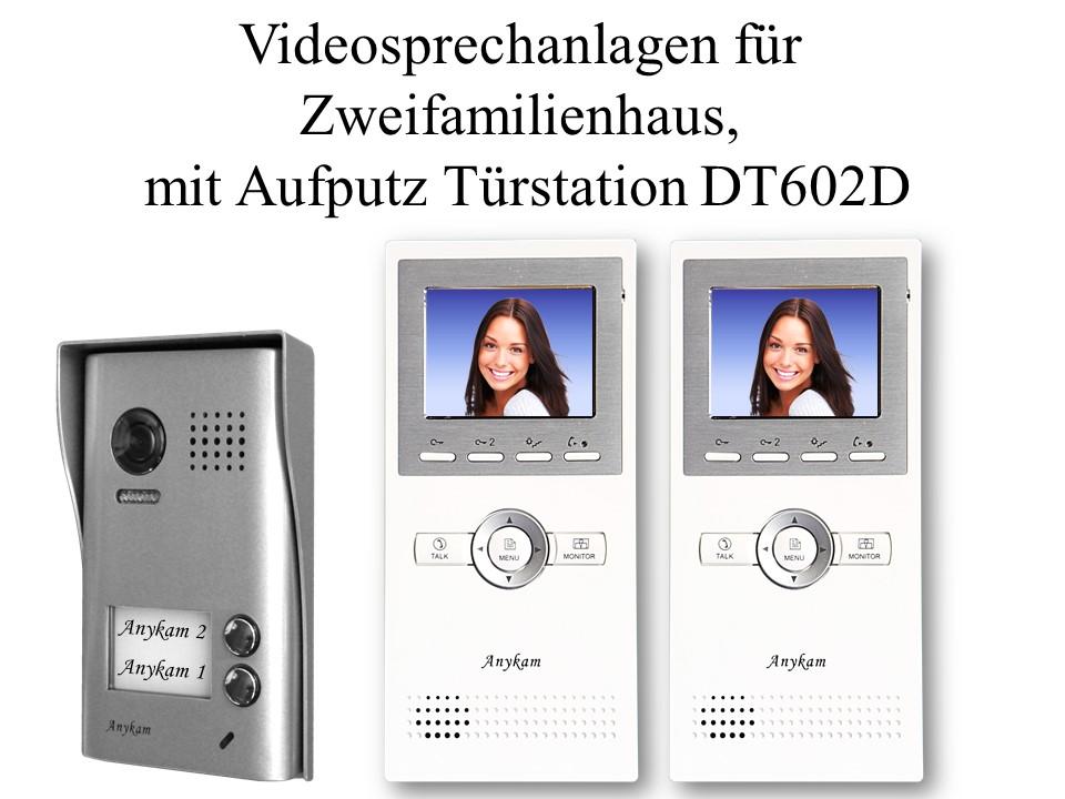Video Gegensprechanlagen 2draht Aufputzmontage 2-familienhaus Türstation DT602D