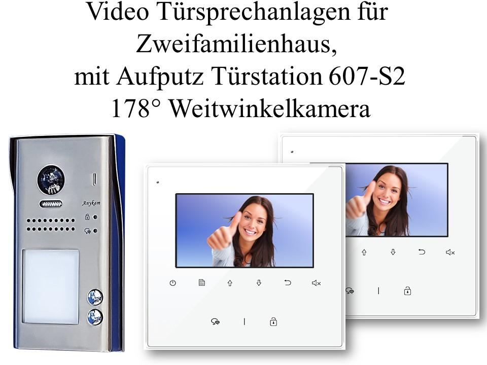 Video Gegensprechanlagen mit Fischaugenkamera 2-draht Zweifamilienhaus Türstation DT607S2 Unterputzmontage