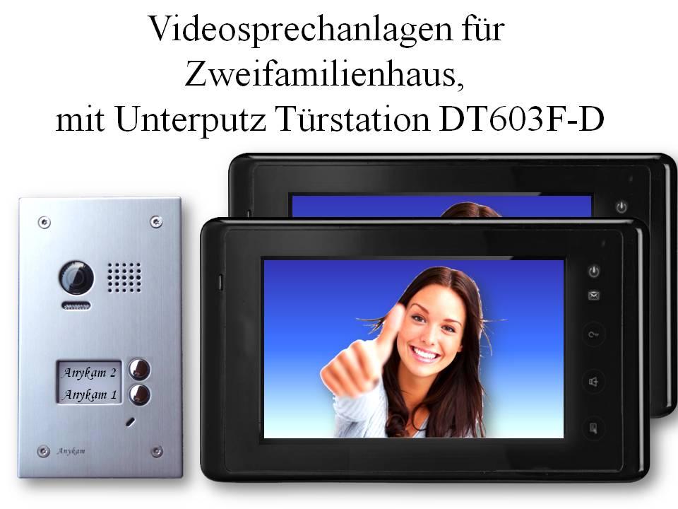 Video Gegensprechanlagen 2-draht Unterputzmontage 2-familienhaus Edelstahl Türstation DT603D-F