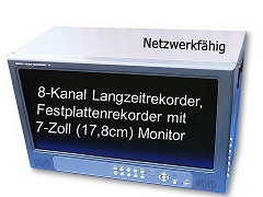 8-KANAL FESTPLATTENREKORDER H.264 Monitor TFTDVR-6108V