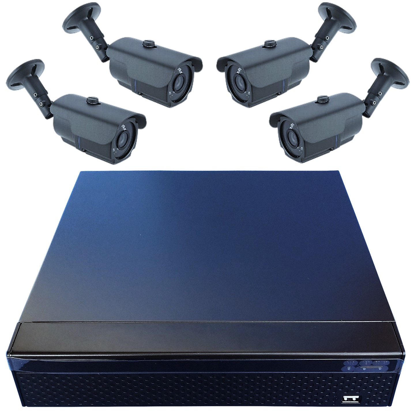 Komplettset mit 4-Kanal Langzeitrekorder Festplattenrekorder Aufzeichnungsgerät und 4 Nachtsichtkameras