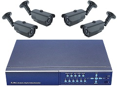 Komplettset Überwachung FESTPLATTENREKORDER 6304 und 4 Nachtsichkameras