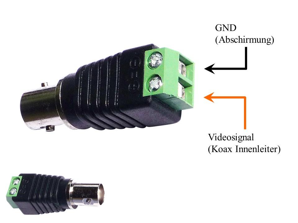 BNC-female-2Pol Adapter für Anschluss von Profikamera und Überwachungskamera an DT- SCU unserer 2-Draht Video Sprechanlagen