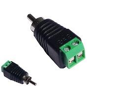 Chinch-male zu 2-Pol Adapter von Video Koax RG59 Chinch auf Schraubklemmen